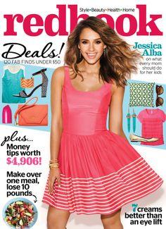 Jessica Alba on the cover of Redbook Magazine in Amanda Uprichard!