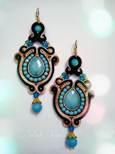 Turquoise, black and gold soutache earrings
