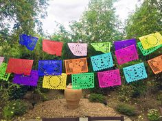 Papel Picado literally means 'perforated paper' and is a very traditional banner that is used all over Mexico, to adorn weddings, churches, baptisms, quinceaneras, and fiestas. Made out of tissue pape