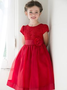Pretty Lace Dress with Organza Skirt & Hand-Rolled Rosette