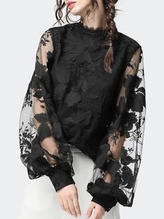 2020 New Style Women's Lace Puff Sleeve Transparent Crew Neck Solid Color Tops Blouses Female Casual Shirts Diy Schmuck, Casual Tops, Casual Shirts, Types Of Sleeves, Blouses For Women, Women's Blouses, Womens Fashion, Fashion Trends, Xl Fashion