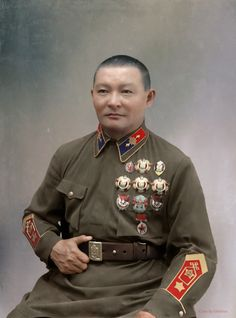 Khorloogiin Choibalsan was the Communist leader of the Mongolian People's Republic and Marshal (general chief commander) of the Mongolian armed forces Military Working Dogs, Military Men, Military Uniforms, Red Army, Soviet Union, Mongolia, Armed Forces, Historical Photos, World War