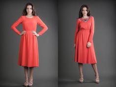 2 in 1 Dress Silk & Jersey Orange Reversible Dress, 21st Dresses, Silk Dress, Cashmere, Orange, Fashion Design, Clothes, Tall Clothing, Silk Gown