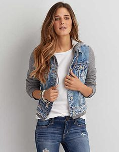 AEO Hooded Denim Jacket , Medium Wash | American Eagle Outfitters