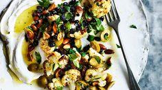 Warm salad of roast cauliflower, labna, olives and almonds