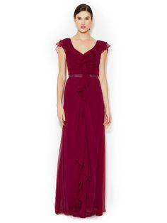 Ruffle Front Silk Gown by Carolina Herrera at Gilt