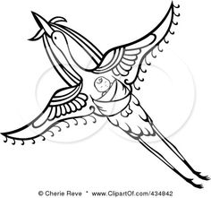 434842-Royalty-Free-RF-Clipart-Illustration-Of-A-Black-And-White-Flying-Stork-With-A-Baby-On-Its-Bac