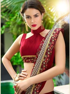 Trending & Latest blouse designs catalogue 2019 - New Blouse Designs Indian Blouse Designs, Blouse Back Neck Designs, Neckline Designs, Sari Blouse Designs, Fancy Blouse Designs, Designer Blouse Patterns, Saree Jacket Designs Latest, High Neck Blouse, Saree Blouse Patterns