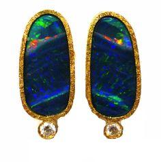 Arrecades en oro groc amb opals i brillants encarregades per en Xavier Molas