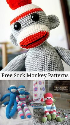 Free Crochet Pattern Sock Monkey Slippers : Crochet Sock Monkeys on Pinterest Sock Monkey Pattern ...
