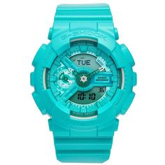 G-Shock S-Series Ana-Digi Resin Watch, 49Mm ($130) ❤ liked on Polyvore featuring jewelry, watches, sporty watches, alarm watches, digital wrist watch, resin watches and water resistant watches