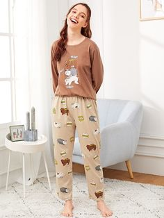 Product name: Cartoon & Letter Print Pajama Set at SHEIN, Category: Pajama Sets Satin Pyjama Set, Pajama Set, Womens Fashion Online, Latest Fashion For Women, Pijamas Women, Cartoon Letters, Cozy Pajamas, Pyjamas, Babydoll