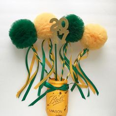 Graduation Centerpiece, Green and Yellow Tulle Pom Pom Wands, Party Favors, DELUXE , 5 pc set Graduation Party Centerpiece Green and Yellow Tulle Pom Pom Outdoor Graduation Parties, Graduation Party Centerpieces, Graduation Decorations, Grad Parties, First Birthday Parties, Graduation Ideas, 15 Birthday, Graduation Gifts, Birthday Decorations