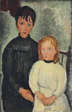 1947 Modigliani, The Two Girls - Mira Parker, Design & Antiques - Brands One Kings Lane , Modigliani Paintings, Amédéo Modigliani, Pierre Auguste Renoir, Paul Gauguin, Richard Diebenkorn, Edvard Munch, Gustav Klimt, Monet, Catalogue Raisonne