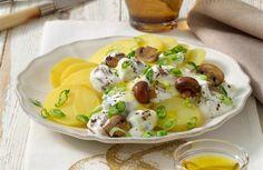 Kartoffeln mit Pilzen und Quark