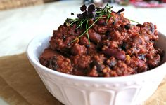 Smoky Three-Bean & Chia Chili via @VeganFitnessCom