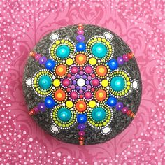 Elspeth McLean: This commissioned stone was so fun- love the vivid rainbow colours #rockart #rainbow #elspethmclean