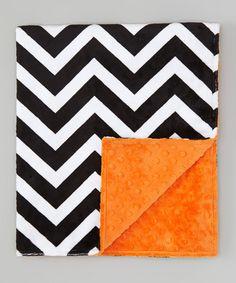 "Look what I found on #zulily! 28"" x 32"" Black Chevron & Orange Minky Stroller Blanket by Lolly Gags #zulilyfinds"