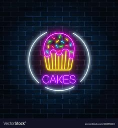 Neon glowing sign of cake with glaze in circle vector image on VectorStock Cute Black Wallpaper, Neon Wallpaper, Simpson Wallpaper Iphone, Wallpaper Iphone Disney, Neon Food, Funny Emoji Faces, Cake Logo Design, Brick Wall Background, Neon Aesthetic