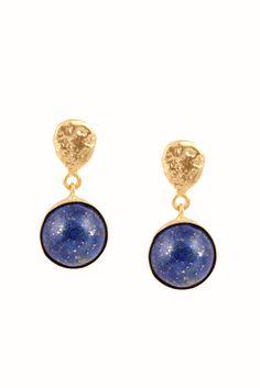 Pendientes con dos piedras semipreciosas.<strong>Disponible en 3 colores: azul (lapislázuli), blanco (ónix blanco) y fumé (labradorita).