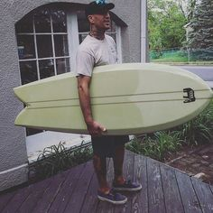 "Maiden voyage for the @donnie_utah zebrawood keel fish. Great first session he said. 5.8. 22"" and perfect for summer sliding. Actually any weather sliding. The blank was a double applecore plywood stringer @ 2"" apart. Olive green tint with deck and tail patches. More pic to come Thanks @usblanks and @greenlightsurfsupply #zebrawood #keelfin #fish #gunnsurfboards"