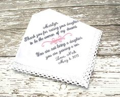 Mother of The Bride Hankie   WOMAN of my Dreams  by MisterandMrs, $22.95