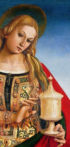 It's About Time: Luca Signorelli detail, Mary Magdalene Need to check date - but different version of an RFD - note long opening, layered over another dress Renaissance Kunst, Renaissance Paintings, Italian Renaissance, Maria Magdalena, Noli Me Tangere, Ludwig, Catholic Saints, Caravaggio, Medieval Art