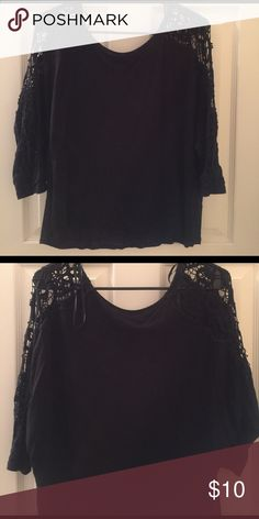 Forever 21 black 3/4 sleeve top Black 3/4 sleeve top. Lace cutout design from shoulder down arms. Very cute on. In great condition. Forever 21 Tops Tees - Long Sleeve