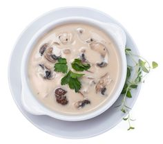 Creamy Almond Mushroom Soup - This lighter version of cream of mushroom soup packs protein and taste. It's SO easy to make. The perfect addition to a weeknight dinner. A must if you want something fast, savory, and delcious. Creamy Mushroom Soup, Mushroom Soup Recipes, Creamy Mushrooms, Stuffed Mushrooms, Fun Easy Recipes, Real Food Recipes, Cooking Recipes, Healing Soup, Homemade Soup