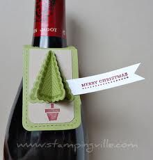 Wine bottle tag using Two Tags Die from Stampin Up