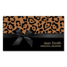 Chic Leopard Print Personal Shopper Business Card Template. This great business card design is available for customization. All text style, colors, sizes can be modified to fit your needs. Just click the image to learn more!