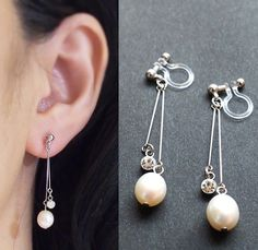 White Freshwater Pearl Invisible Clip On Earrings,Pearl Clip On Earrings,Wedding Clip On Earrings,Bridal Clip-on, Non Pierced Earrings by MiyabiGrace on Etsy https://www.etsy.com/listing/244279030/white-freshwater-pearl-invisible-clip-on