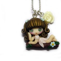 PROMO 15% OFF Kawaii Cuties Sweet  Elf Fairy Pendant Necklace with Polymer Clay Brown. €10.00, via Etsy.