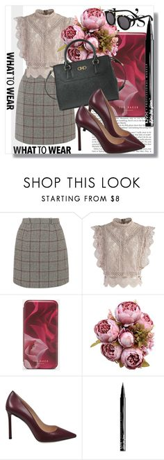 """Monnier Freres !!"" by dianagrigoryan ❤ liked on Polyvore featuring Carven, Chicwish, Ted Baker, Jimmy Choo, NYX, STELLA McCARTNEY, plaid and girlsnight"