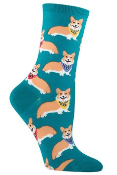 Corgis: the cutest, fluffiest little ankle biters!  Available on a crew length sock in Emerald or Black.  Fits women's shoe size 5-10