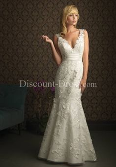 Mermaid V-Neck Floor Length Attached Peau de Soie Satin/ Tulle Lace Wedding Dress style 10032 - - US$279.00