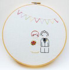 The Peg Doll Wedding, Personalized Wedding Embroidery Pattern, Wedding Sewing Pattern, Custom Wedding Decor
