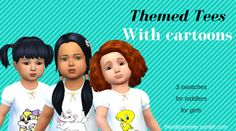 """THEMED TEES FOR TODDLERS GIRLS: BASE GAME RECOLOUR  """"3 swatches with different characters each:  • Marie (Aristocats)  • Tweety (Looney Tunes)  • Baby Lola Bunny (Baby Looney Tunes)  [Mediafire - Adfly]  The Silly Simmer ^^  (Credit for any cc shown other..."""