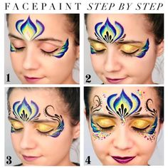 Princess Face Painting, Adult Face Painting, Mask Painting, Cake Face Makeup, Easy Youtube, Face Painting Designs, Face Art, Mardi Gras, Princesses
