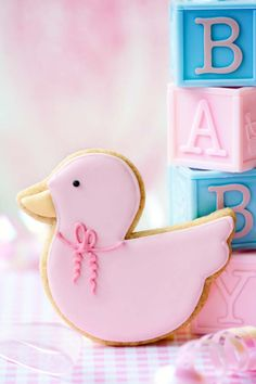 Cute Baby Shower Cookie. Pink Rubber Ducky for a little girl.