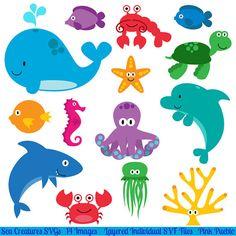 Svg de créatures de mer poissons océaniques animaux par PinkPueblo, $8.00