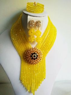 Find More Jewelry Sets Information about Fashion African beads jewelry set yello… - Perlen Schmuck Pearl Necklace Designs, Crystal Bead Necklace, Crystal Beads, Beaded Necklace, Crystal Jewelry, Necklace Set, Ruby Jewelry, Bead Jewellery, Beaded Jewelry