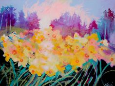 Colorful abstract original landscape painting with a woodland scene and yellow daffodil flowers by Kerri McCabe Modern Impressionism, Impressionist Landscape, Handmade Shop, Etsy Handmade, Handmade Jewelry, Original Art, Original Paintings, Sky Art, Art Market