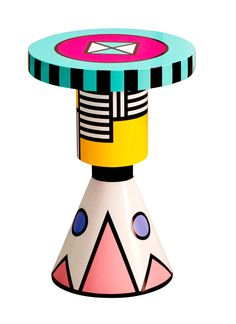 Anna Karlin's vibrant Pattern Chess Piece turned-wood stool channels the exuberant style of the Memphis movement.