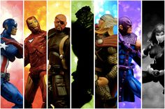 Universal Avengers. A collage of Marvel action figures.