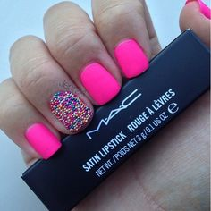 Hot pink with caviar beads