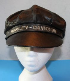 d5c603e88e2ddc Vintage HARLEY DAVIDSON leather motorcycle hat cap USA made Medium 1970's  by ilovevintagestuff on Etsy Harley