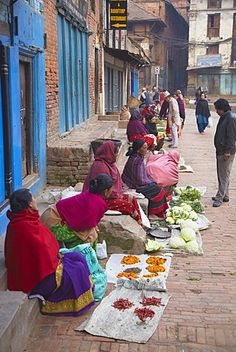 Women selling vegetables, Bhaktapur, Kathmandu Valley, Nepal, Asia