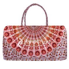 Pink base red mix mandala pattern travel bag Mandala Pattern, Travel Bag, Handicraft, Base, Shoulder Bag, Handbags, Girls, Red, Pink