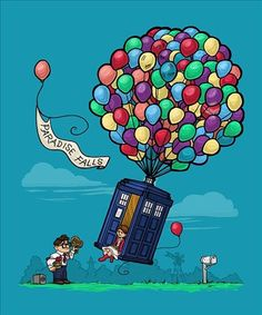 Come Along Carl - Doctor Who - Disney Pixar Up - Carl and Ellie - Amy and Rory - Small Print by karen hallion on Etsy, $20.00